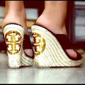 Tory Burch Kristen Black Espadrille Wedges Shoes